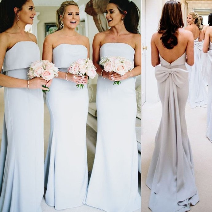 light blue mermaid bridesmaid dresses long mermaid elegant cheap strapless