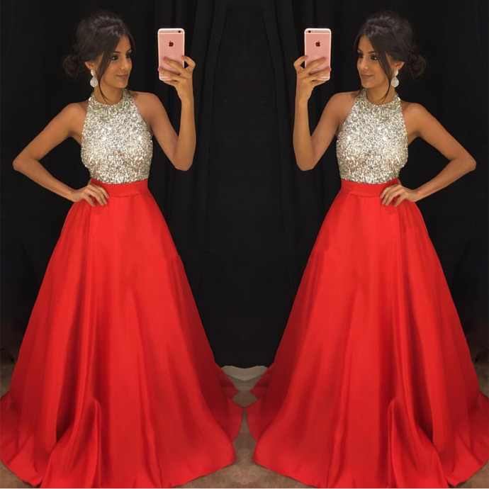 red prom gown robe de soiree 2020 o neck sleeveless beaded satin elegant cheap