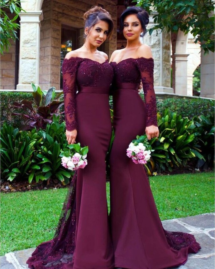 abendkleider 2020 wedding party dresses Burgundy lace appliqué mermaid elegant