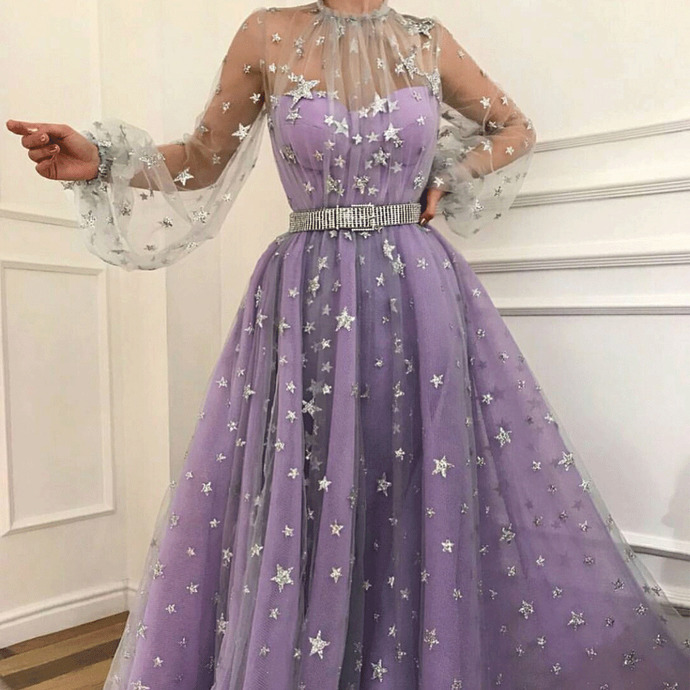 purple prom dresses long sleeve starry tulle elegant sparkly lavender prom gown