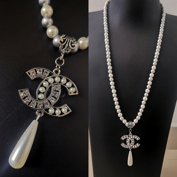 Huge CC pendant long pearl necklace inspired by Chanel