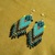Native American Style Brick Stitched Four Direction Frog Earrings In Azure Blue