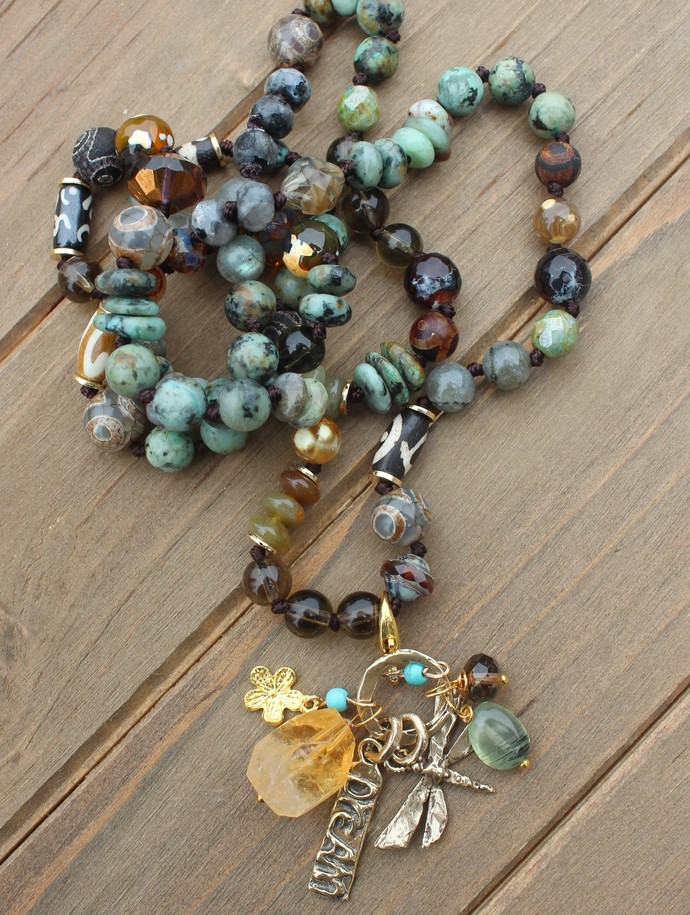 Earthy Turquoise Hand Knot Beaded Necklace with Charm Pendants Gemstone Jewelry