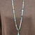 Pale blue Long Beaded Necklace with Larimar Pendant that can double as a Lanyard
