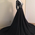 Black Lace Plunge V Long Sleeves Floor Length Formal Gown, Prom Dress