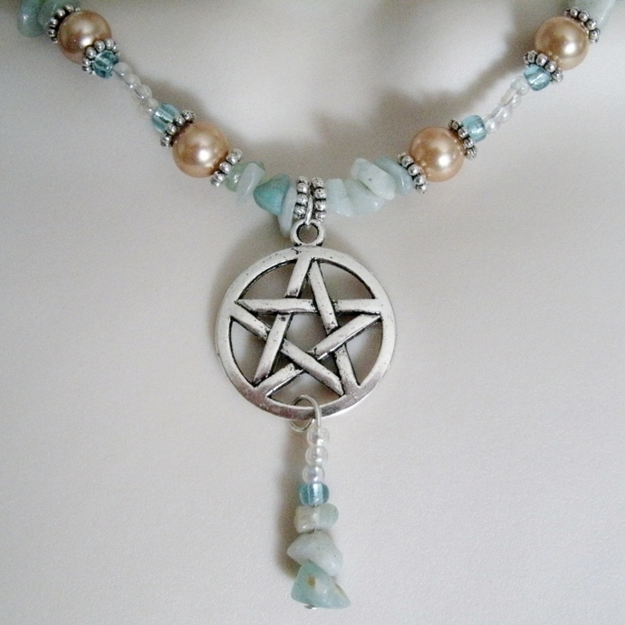 Amazonite Pentacle Necklace, handmade jewelry wiccan pagan wicca witch