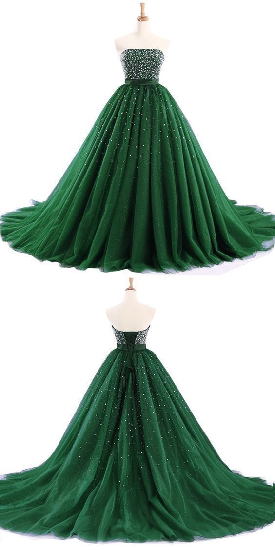 Green tulle strapless A-line long prom dresses