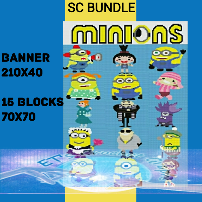 Minions Bundle 17 Patterns includes Graphs with Color Chart Instructions