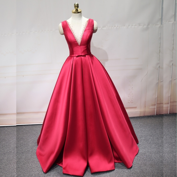 Gorgeous Red Satin Beaded Long Party Dress, Red Formal Gown 2020
