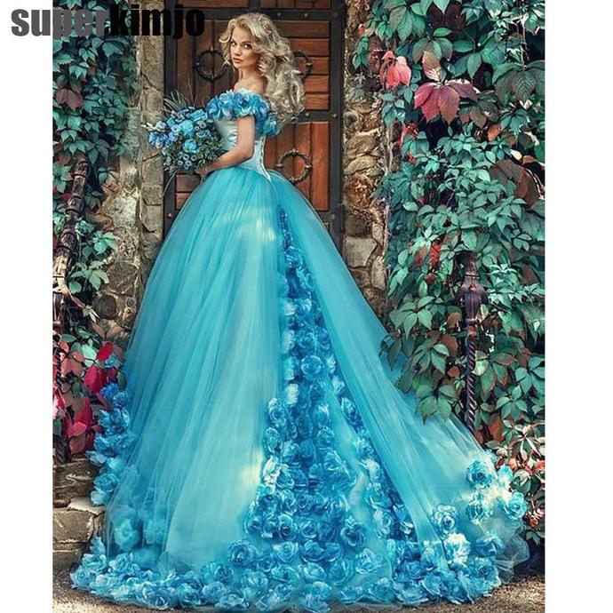 blue ball gown wedding dresses for bride robe de mariage handmade flowers