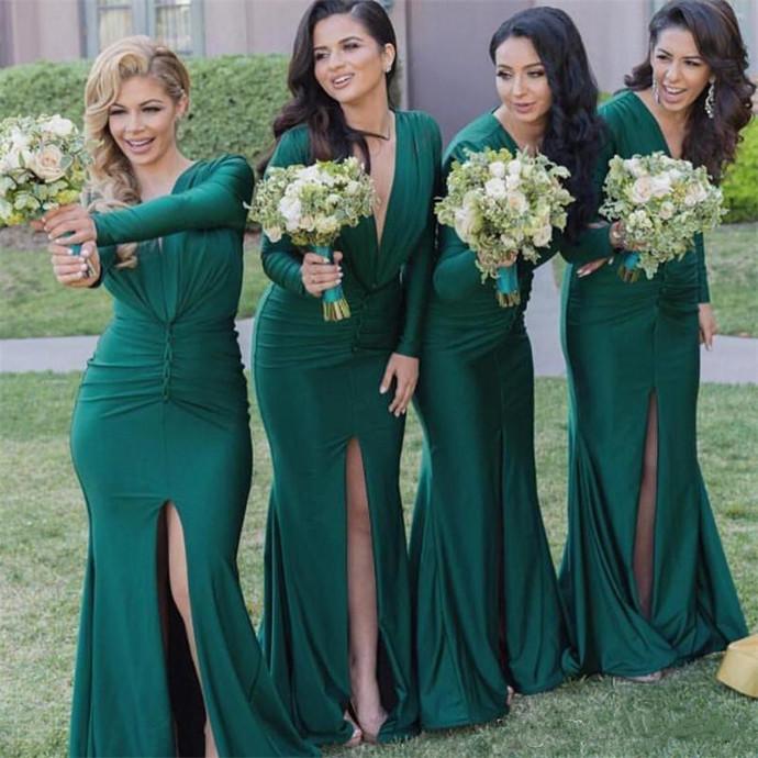 wedding party dresses 2020 green mermaid long sleeve v neck elegant cheap