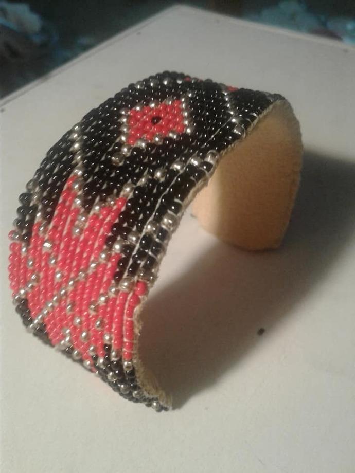 Red Argyle Cuff Bracelet