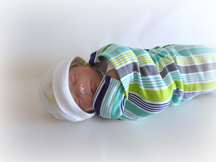 Swaddle Sack, Scratch Mittens, & Tie Knot Headband in Green and Gray Stripes