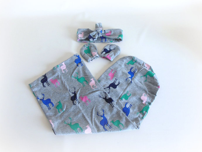 Swaddle Sack, Scratch Mittens, & Tie Knot Headband in Deer Bucks and Does