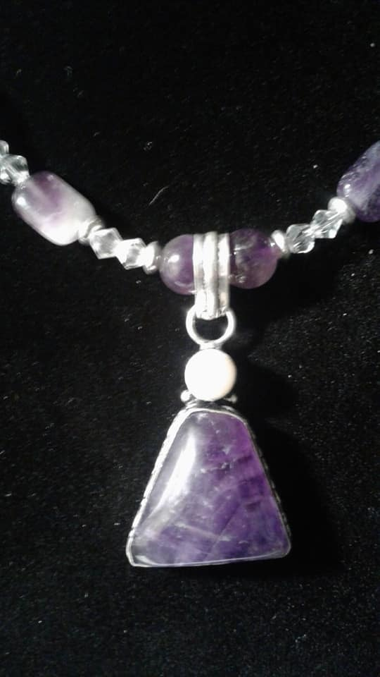 Amethyst and Potato Pearl Necklace