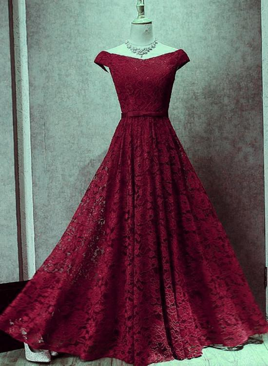 Beautiful Wine Red Lace Long Party Dress, A-line Formal Gown