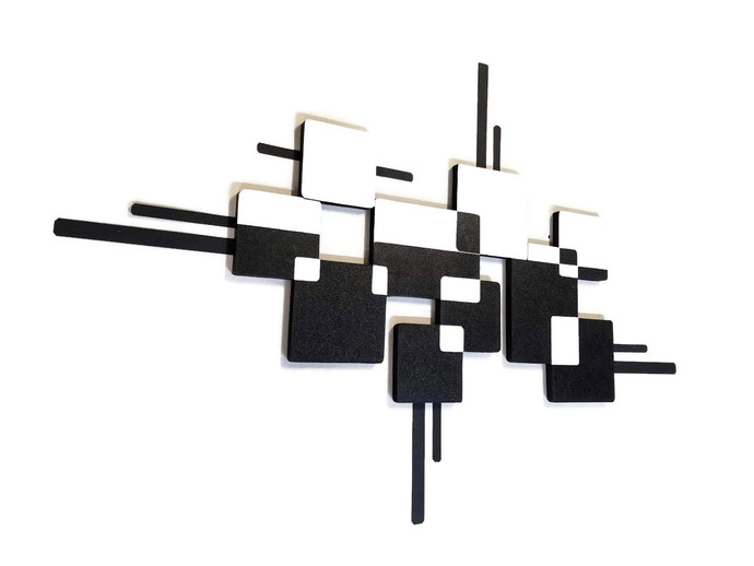 Black and White Monochrome Wood and Metal Wall Sculpture, Metal wall art, Modern