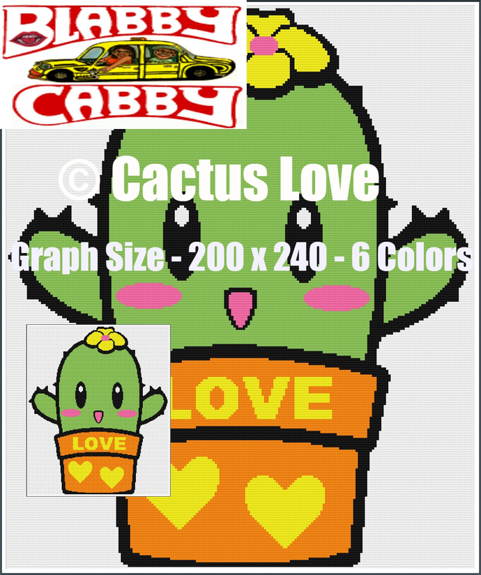 Cactus Love - Graph 200 x 240. Line by Line Instructions in Single Crochet