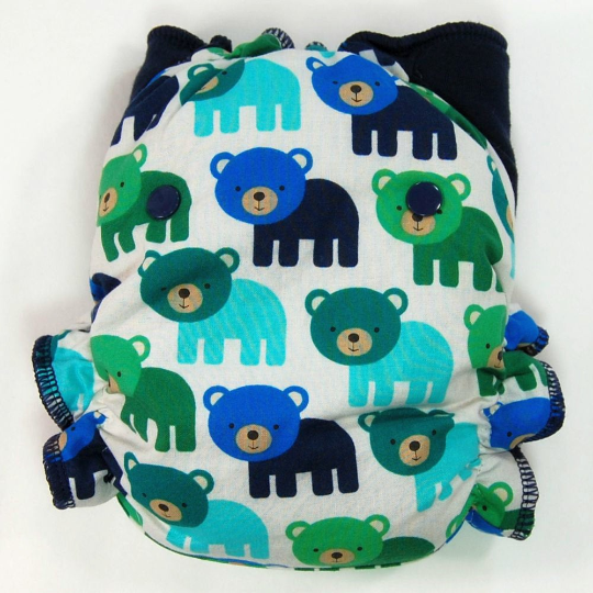 Woodland Bears - Cloth Diaper or Cover - You Pick Size and Style - Made to Order