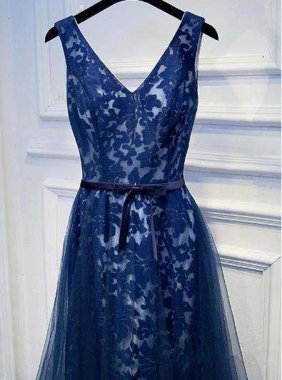 Elegant Navy Blue Lace Long Evening Gown, Blue Party Dress