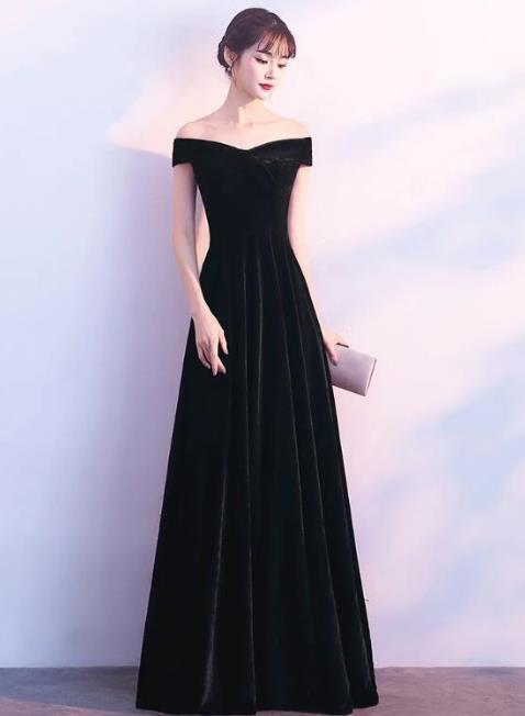 Black Velvet Long Bridesmaid Dress, Wedding Party Dress 2020
