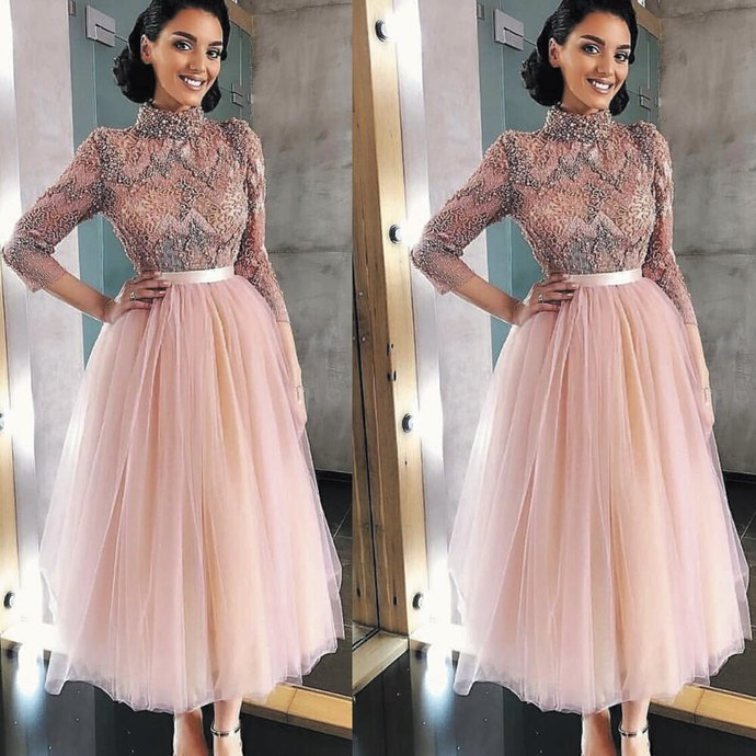 ankle length pink prom dresses 2020 high neck lace appliqué beaded crystals