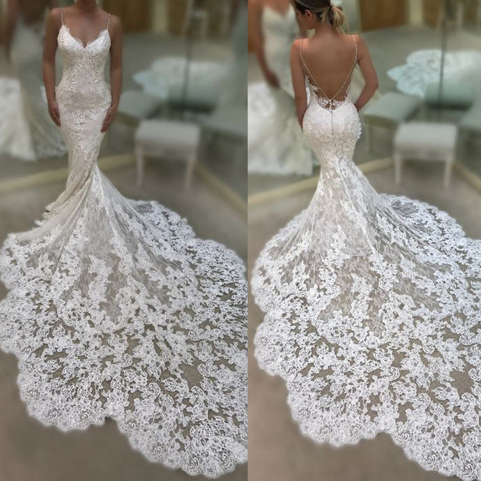mermaid lace appliqué wedding dresses for bride backless elegant modest sexy