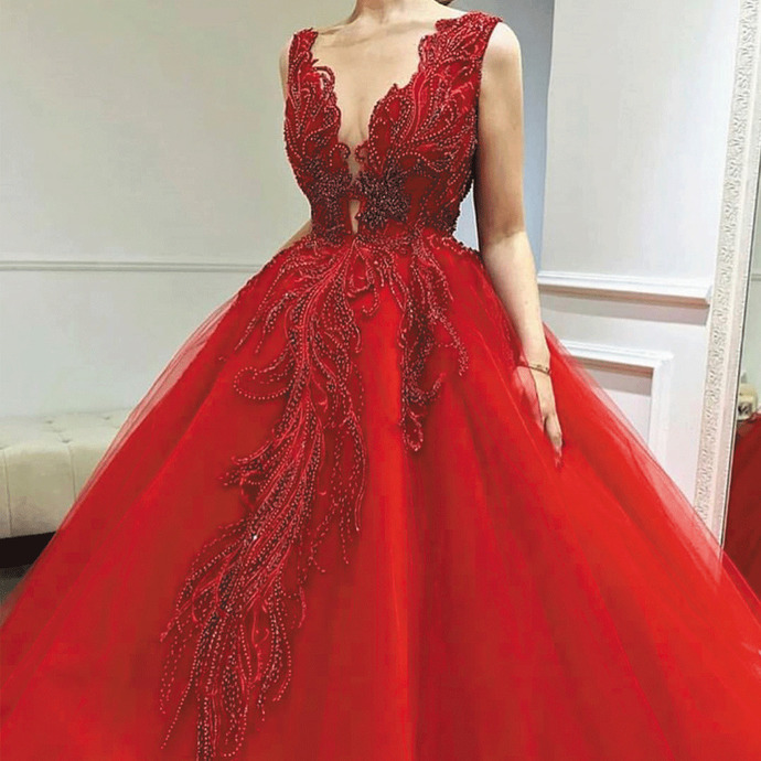 red ball gown prom dresses 2020 deep v neck lace appliqué beaded elegant prom