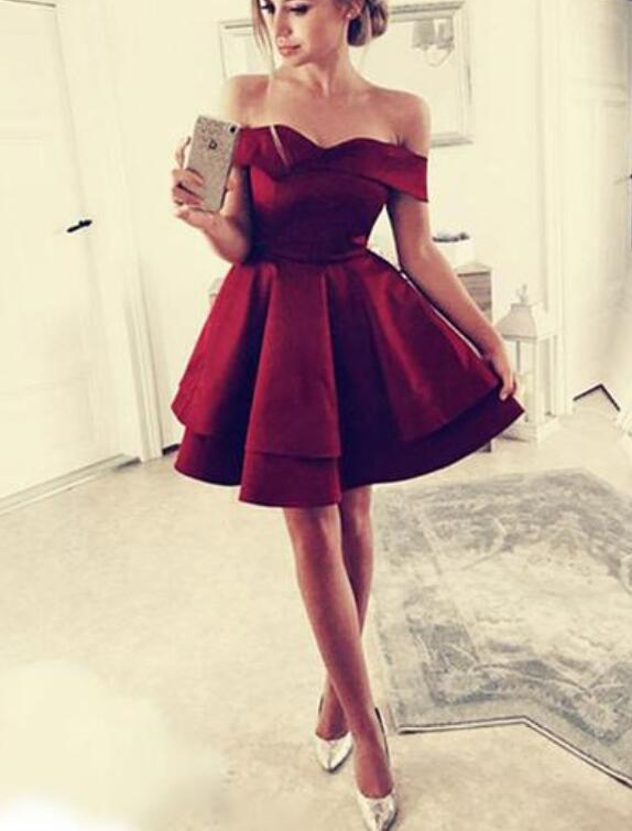 Dark Red Off Shoulder Satin Layers Short Party Dress, Wine Red Homecoming Dress