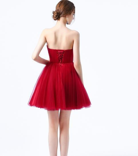 Lovely Wine Red Tulle Sweetheart Short Party Dress, Dark Red Homecoming Dress