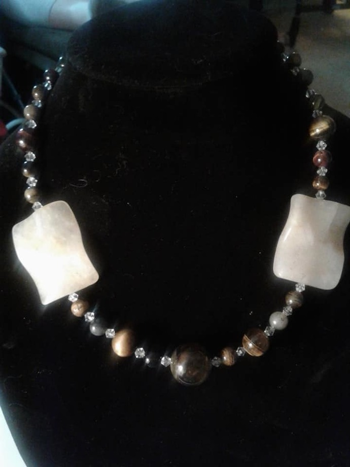 Tiger Eye and Yellow Jade Necklace