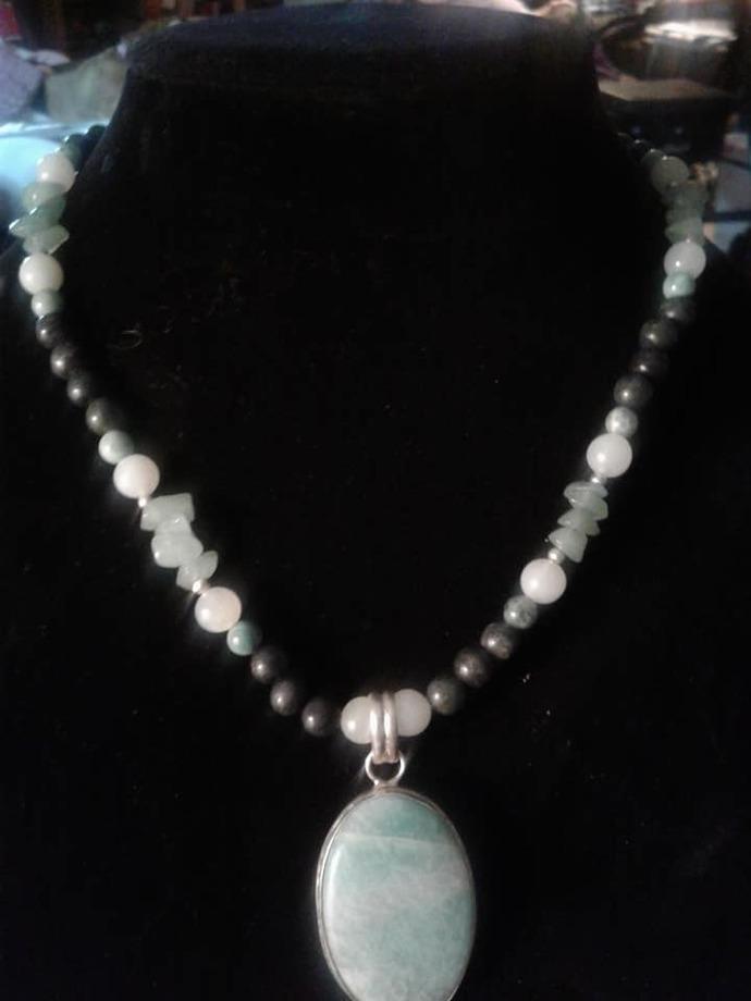Green Aventurine, Jade, and Serpentine Necklace