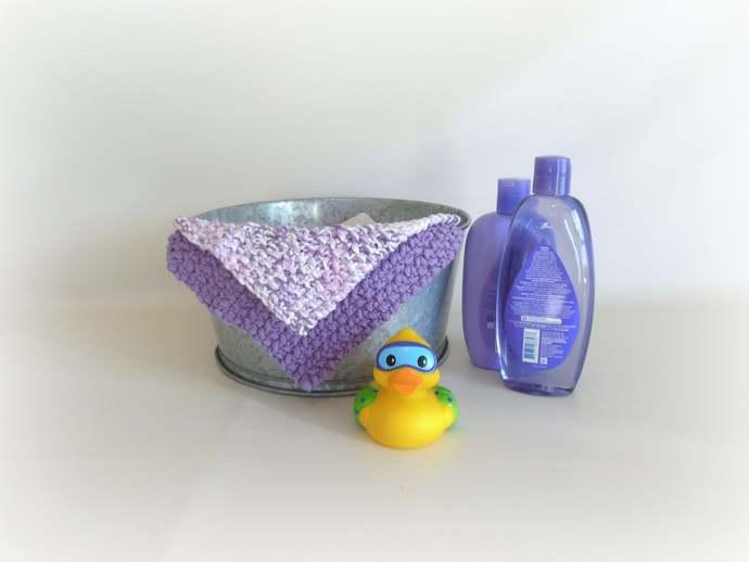 Double Knit Washcloths Set of 2 in Purple
