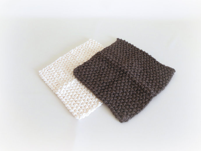 RTS Set of 2 Cream & Brown Cotton Double Knit Washcloths, Cream Brown Cotton