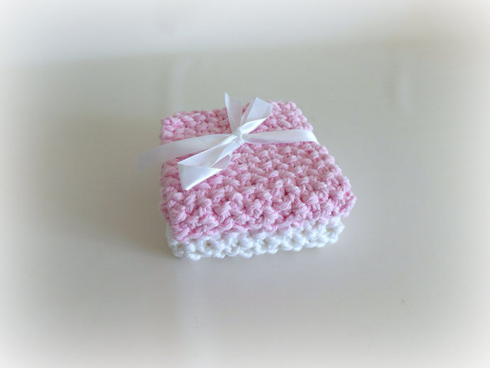 Double Knit Washcloths Set of 2 in Pink & White