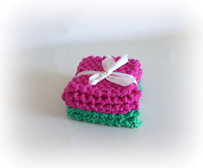 RTS Set of 2 Pink & Green Cotton Double Knit Washcloths, Pink Green Cotton Dish