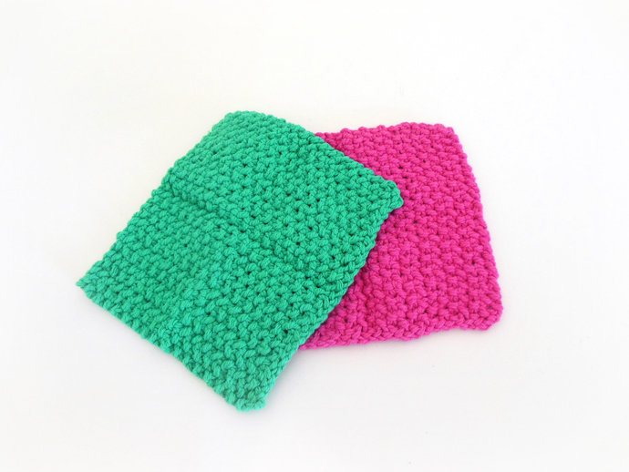 Double Knit Washcloths Set of 2 in Pink & Green