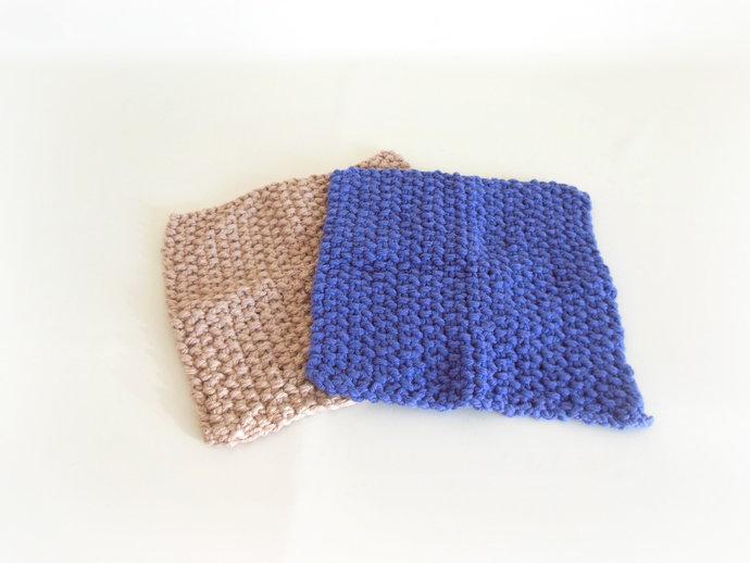 Double Knit Washcloths Set of 2 in Beige & Purple