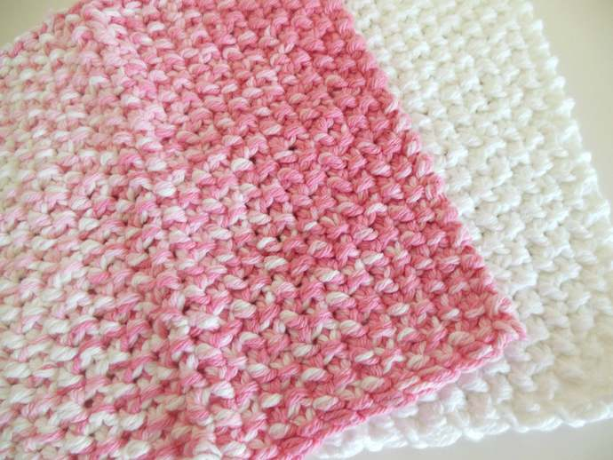 RTS Set of 2 Pink White Cotton Double Knit Washcloths, Pink White Cotton Dish
