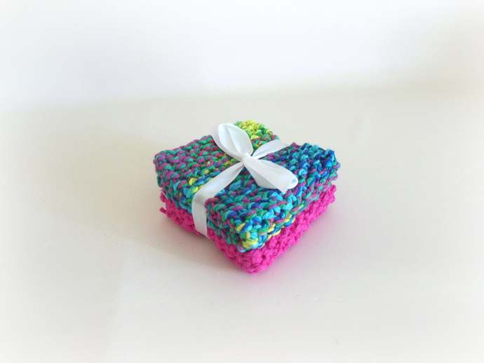 Double Knit Washcloths Set of 2 in Pink and Multi Colors