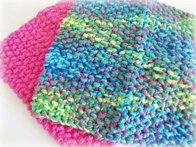 RTS Set of 2 Pink and Multi Colored Cotton Double Knit Washcloths, Cotton Dish