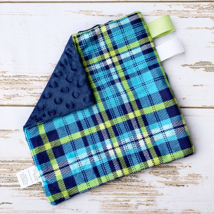 Mini Lovey - Blue and Green Plaid & Navy Dimple