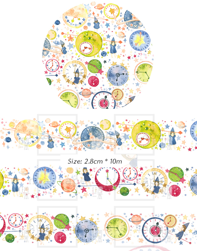 1 Roll of Limited Edition Washi Tape- Space Time Space Clock