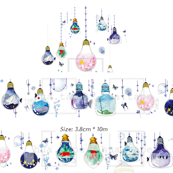 1 Roll of Limited Edition Washi Tape: Light Bulb with a  peaceful landscape