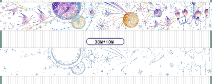 1 Roll Limited Edition Silver Foiled Washi Tape- Galaxy and Butterfly