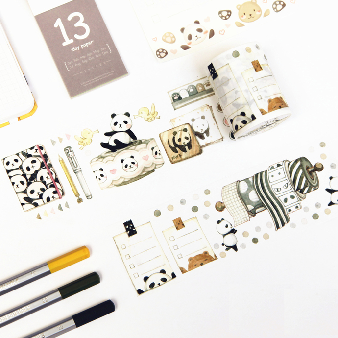 1 Roll Limited Edition Washi  Tape: Panda's Planner and to do list collection