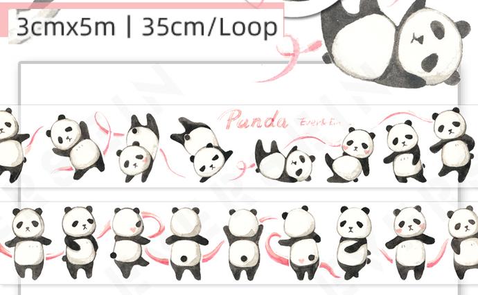 1 Roll Limited Edition Washi Tape: Panda Ribbon Dance