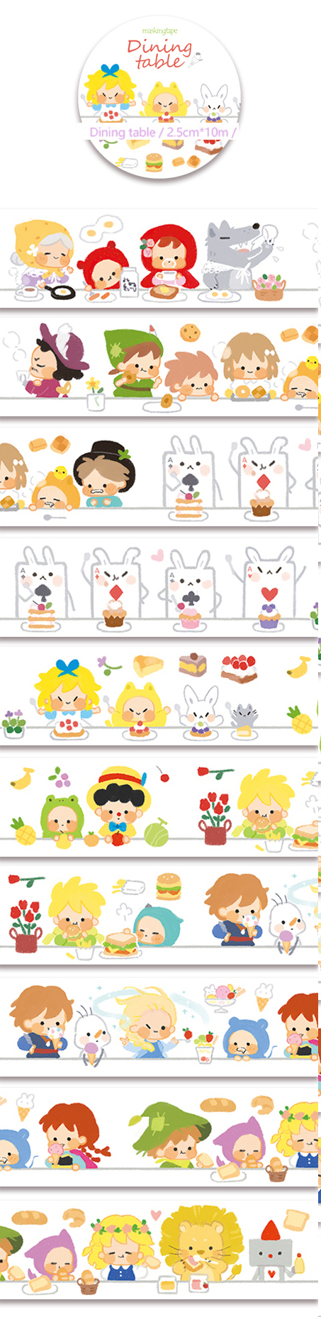Pre-Order 1 Roll of Limited Edition Washi Tape: Fairytale Dinning Table