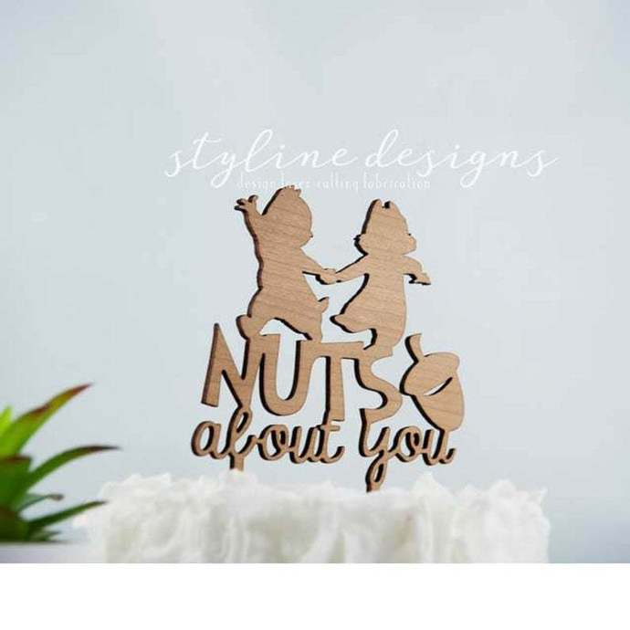 Nuts About You Romantic Cake Topper