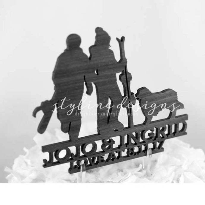 Ski and Snowboard Romantic Cake Topper